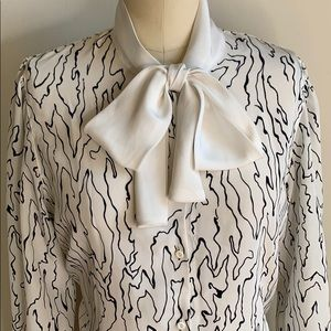 Vintage Tae Young Abstract Pussy Bow Blouse